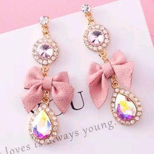 dusty pink long earrings